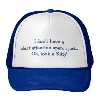 Short Attention Span Kitty (blue) Trucker Hat