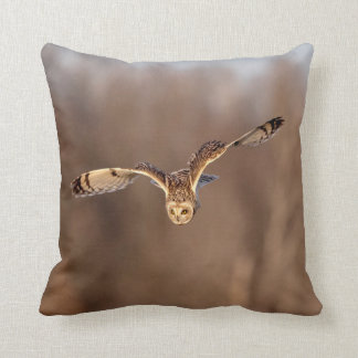 Short-eared owl diving towards the ground throw pillow