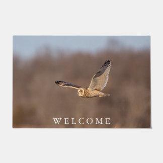 Short-eared owl in flight doormat