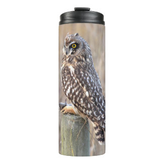 Short-Eared Owl with Vole Thermal Tumbler