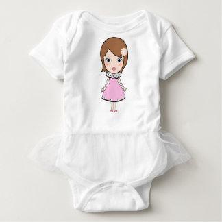 Short hair doll girl baby bodysuit