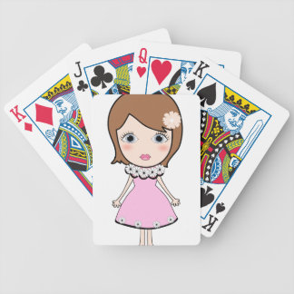 Short hair doll girl bicycle playing cards