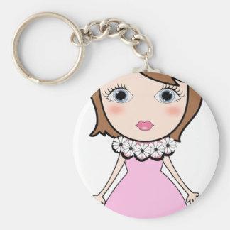 Short hair doll girl keychain
