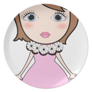 Short hair doll girl plate