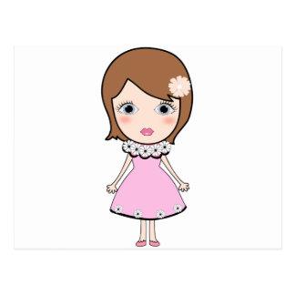 Short hair doll girl postcard