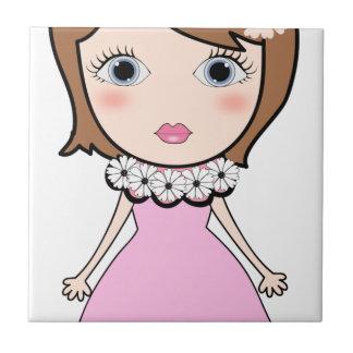 Short hair doll girl tile