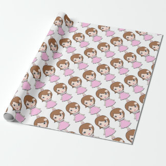 Short hair doll girl wrapping paper