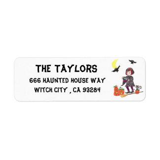 Short hair witch return address labels