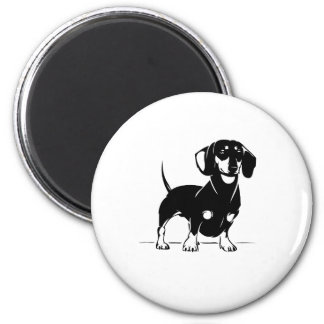 Short haired dachs round magnet