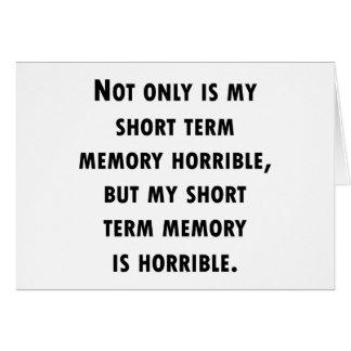 Short Term Memory Loss Card