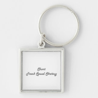 Short Track Speed Skating Classic Retro Design Silver-Colored Square Keychain