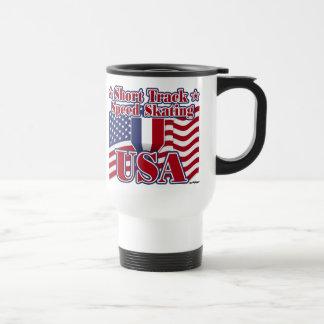 Short Track Speed Skating USA 15 Oz Stainless Steel Travel Mug