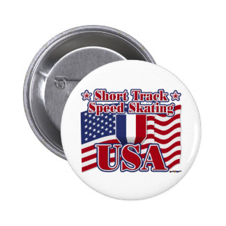 Short Track Speed Skating USA Pinback Buttons