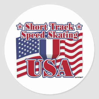 Short Track Speed Skating USA Round Sticker