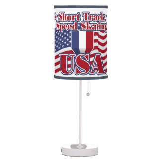 Short Track Speed Skating USA Table Lamp