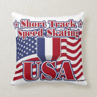 Short Track Speed Skating USA Throw Pillow