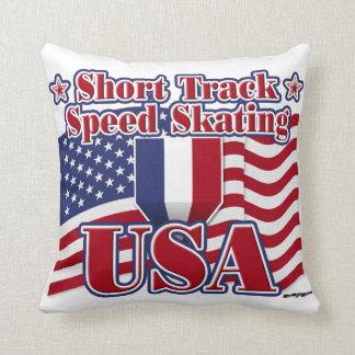 Short Track Speed Skating USA Throw Pillow