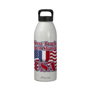 Short Track Speed Skating USA Water Bottle