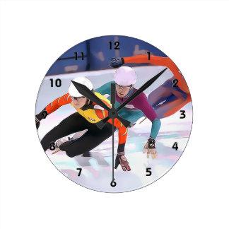 Short Track Speed Skating Wall Clocks