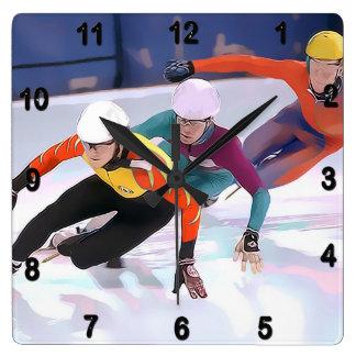 Short Track Speed Skating Wallclocks