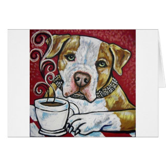 Shorty Rossi's pitbull Hercules drinking coffee Greeting Card