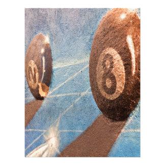 Shot of billiard balls illustration on the wall letterhead