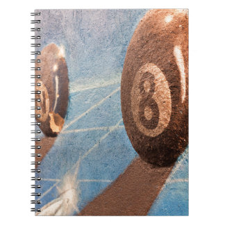 Shot of billiard balls illustration on the wall notebook