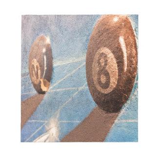 Shot of billiard balls illustration on the wall notepad