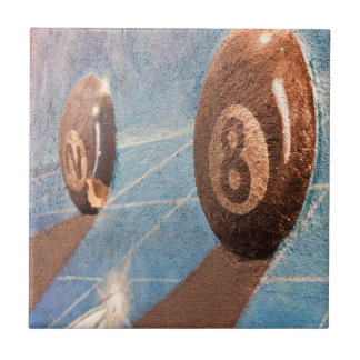 Shot of billiard balls illustration on the wall tile