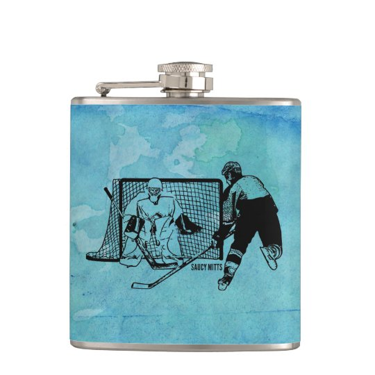 Shot On Net Hockey Sketch on Blue Watercolor Hip Flask