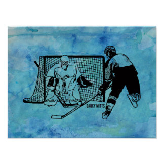 Shot On Net Hockey Sketch on Blue Watercolor Poster