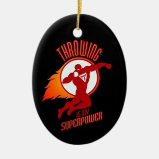 shot putting is my superpower ceramic oval ornament