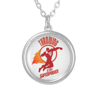 shot putting is my superpower silver plated necklace