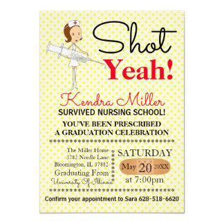 Shot Yeah! Nursing School Graduation Invitation