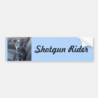 """Shotgun Rider"" Blue Heeler Pup Bumper Sticker"
