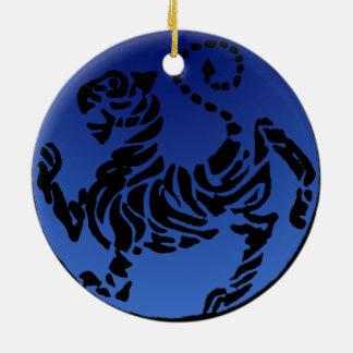 Shotokan Black & Blue Tiger Ceramic Ornament