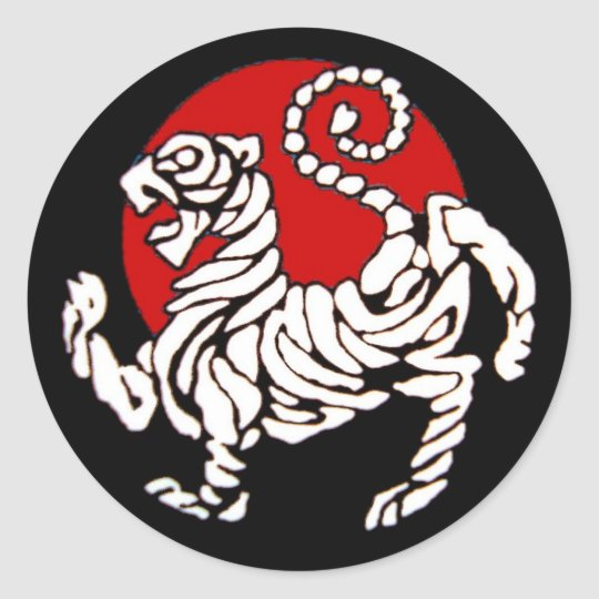 Shotokan Tiger Rising Sun Classic Round Sticker
