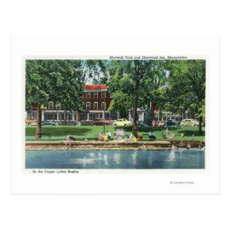 Shotwell Park and Sherwood Inn Scene Postcard