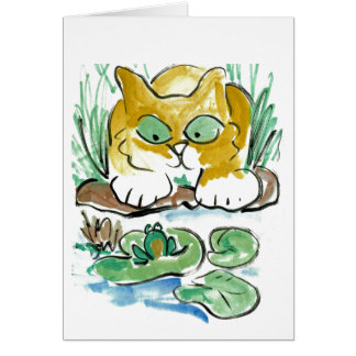 Should I? kitten eyes a frog Card