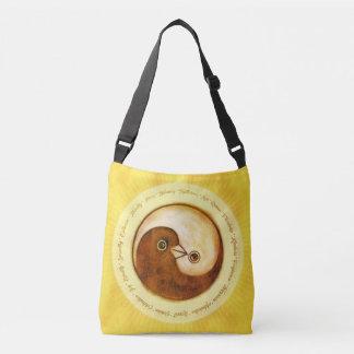 Shoulder bag gold YinYang doves harmony