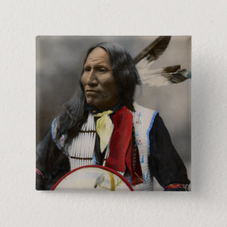 Shout At Oglala Sioux 1899 Indian Vintage 2 Inch Square Button