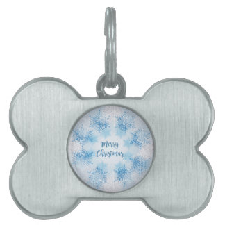 SHOW FLAKES PATTERN Merry Christmas Pet Name Tag