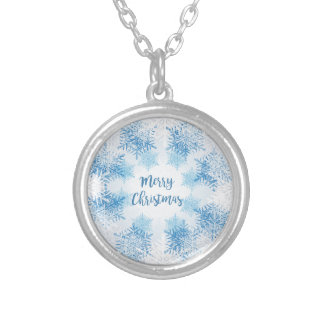 SHOW FLAKES PATTERN Merry Christmas Silver Plated Necklace
