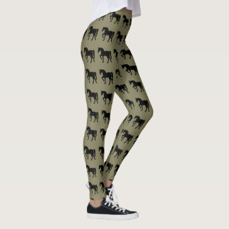 Show Horse Silhouette Olive and Black Leggings