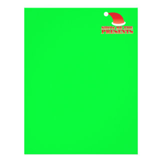 Show me the PRESENTS! with cute little santa hat Letterhead Template