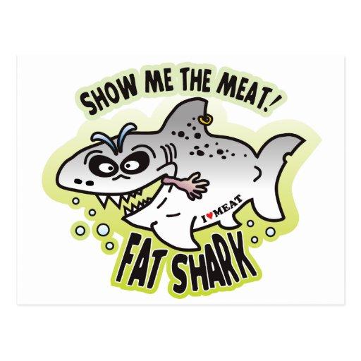 Show Meat Fat Shark Postcards
