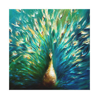 Show Off 3, White Peacock Canvas Print