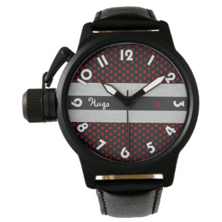 """Show protect-crown, black leather, """"Black Rubis """" Wrist Watches"""