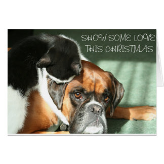 Show some love this Christmas cat and dog love Card