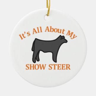 Show Steer Round Ceramic Ornament